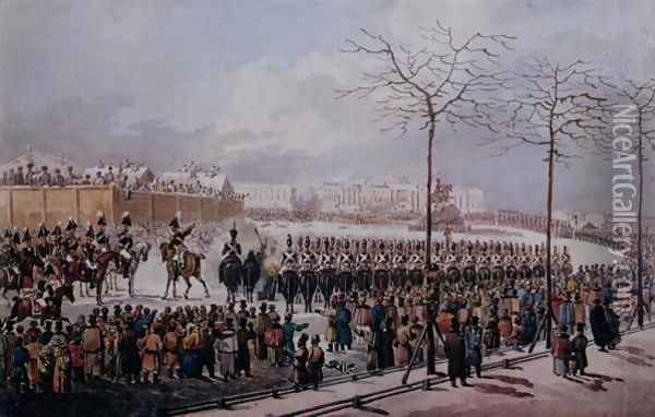 The Insurrection of the Decembrists at Senate Square, St. Petersburg on 14th December, 1825 Oil Painting - Anonymous Artist