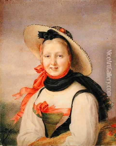 Portrait of a Girl Oil Painting - Anonymous Artist