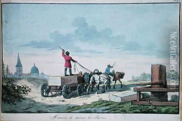 The transport of stone for use in building, 1st half of 19th c. Oil Painting - Anonymous Artist