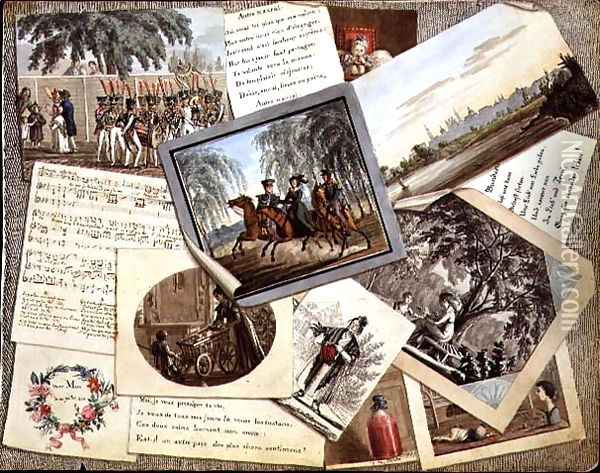 Trompe loeil collage of sheet music, greeting cards and poems, c.1821 Oil Painting - Anonymous Artist