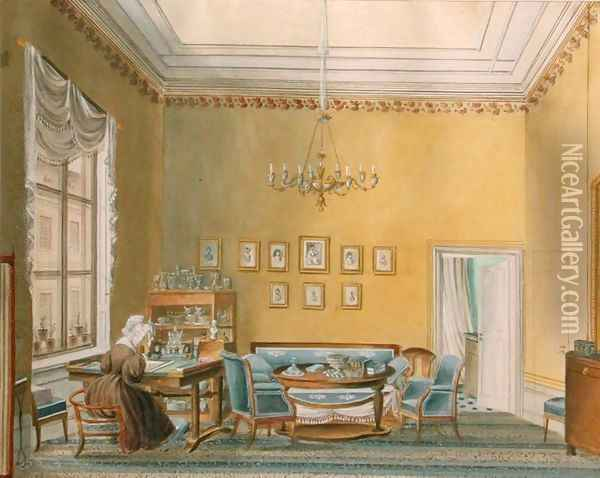 Interior of Boratynskys House in Moscow, 1830s Oil Painting - Anonymous Artist
