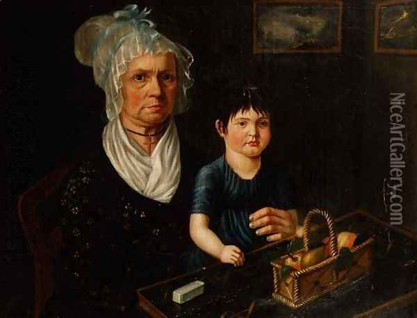 Portrait of Mrs. Catherina Bircher with Her Granddaughter Oil Painting - Anonymous Artist