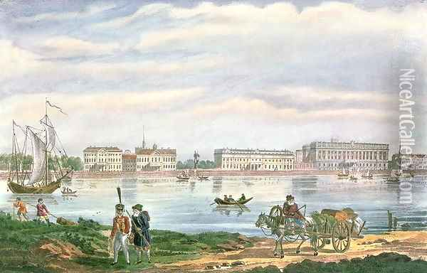 The Marble Palace and the Neva Embankment in St. Petersburg, 1822 Oil Painting - Anonymous Artist