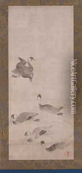 Waterfowl, one of a pair of hanging scrolls, Edo period Oil Painting - Anonymous Artist