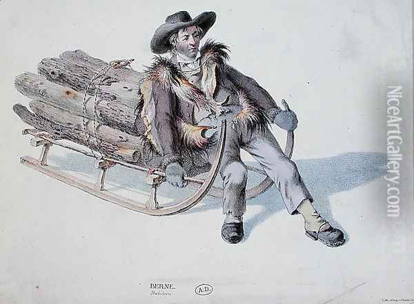 Sledger from the Berne District, early 19th century Oil Painting - Anonymous Artist