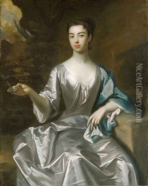 Portrait of a Woman called Maria Taylor Byrd 1700 1725 Oil Painting - Anonymous Artist