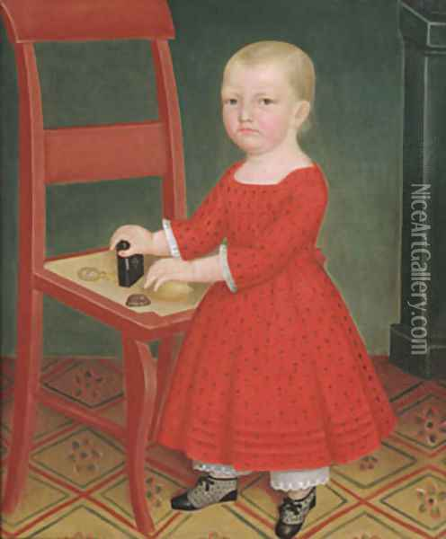 Boy with Blond Hair 1840 Oil Painting - Anonymous Artist