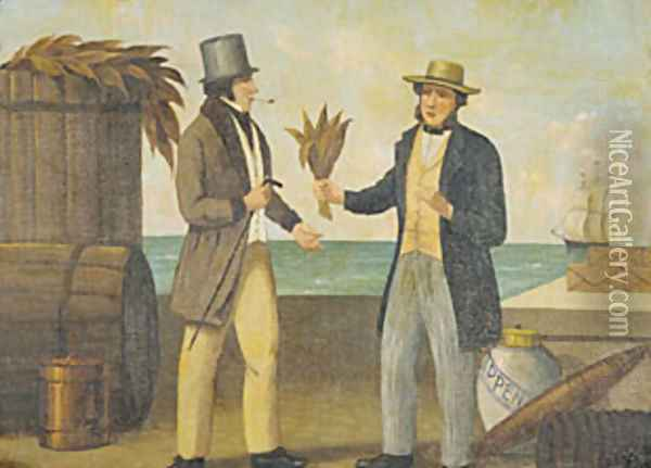 Tobacco Sign 1850 Oil Painting - Anonymous Artist