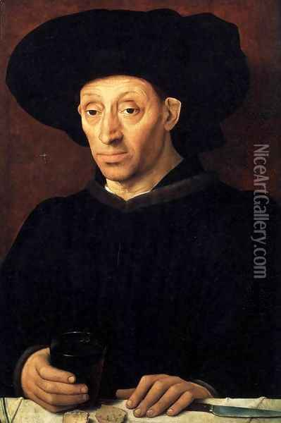 Man with a Glass of Wine 1450 Oil Painting - Anonymous Artist
