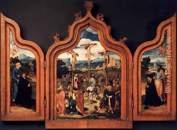 Triptych with the Crucifixion and Donors 1525 Oil Painting - Anonymous Artist