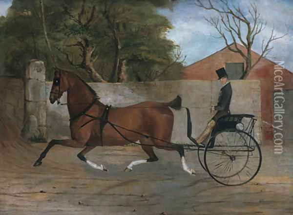 Portrait of a Gentleman in a Carriage 1850 Oil Painting - Anonymous Artist