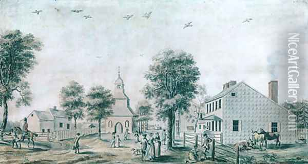 Brooklyn, Long Island (View of the Village Green) 1778 Oil Painting - Anonymous Artist