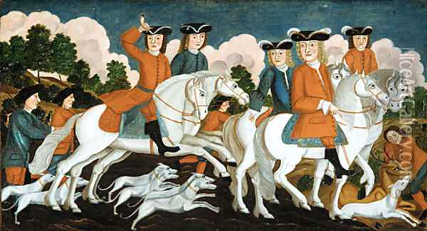 The Hunting Party New Jersey 1670 Oil Painting - Anonymous Artist