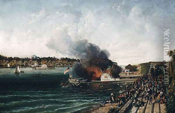 Burning of the Sidewheeler Henry Clay 1854 Oil Painting - Anonymous Artist