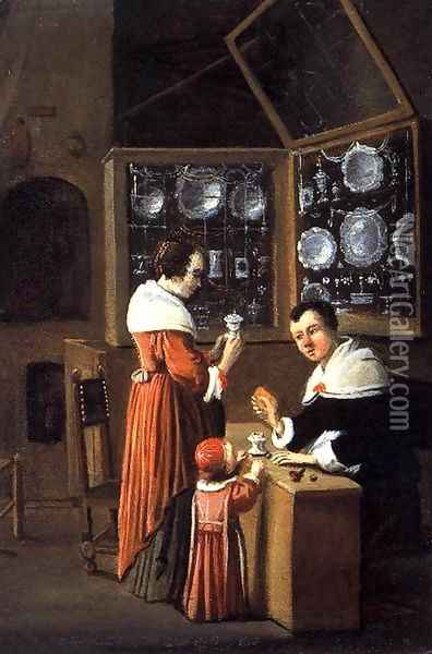 Interior of a Dutch Shop Selling Gold and Silver 1660 Oil Painting - Anonymous Artist