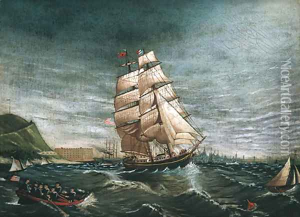 Ship in New York Harbor 1890 Oil Painting - Anonymous Artist