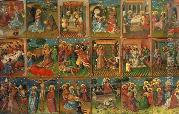 Eighteen Scenes from the Life of Christ 1435 Oil Painting - Anonymous Artist
