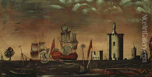 Seascape Fantasy 1770 1800 Oil Painting - Anonymous Artist