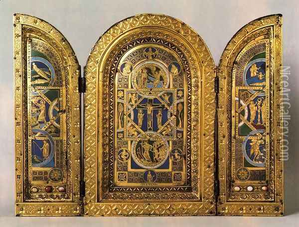 Triptych 1150s Oil Painting - Anonymous Artist