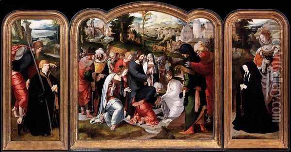 Triptych 1520 Oil Painting - Anonymous Artist