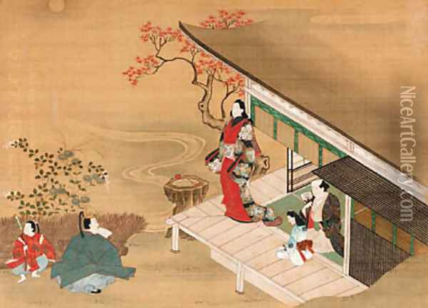 Visit to Kawachi, from Tales of Ise Oil Painting - Anonymous Artist