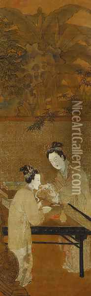 Figures of Ladies in the Style of Du Jin Oil Painting - Anonymous Artist
