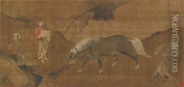 Taming a Horse Oil Painting - Anonymous Artist