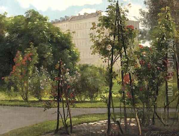 A colonnade on the edge of a park with roses in bloom Oil Painting - Carl Frederick Aagaard