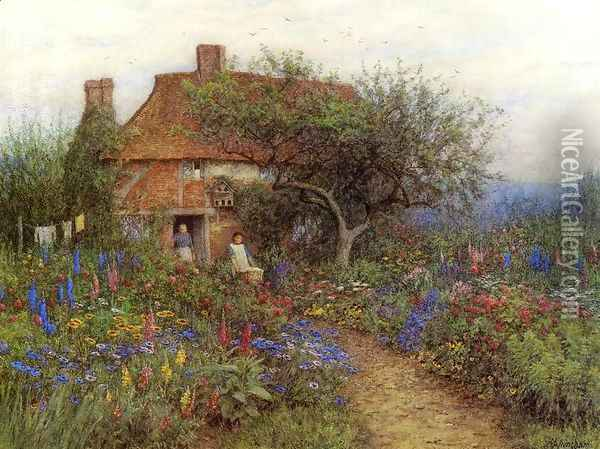 A Cottage near Brook, Witley, Surrey Oil Painting - Helen Mary Elizabeth Allingham
