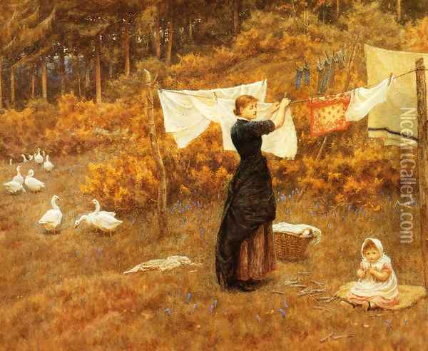 The Clothes Line Oil Painting - Helen Mary Elizabeth Allingham