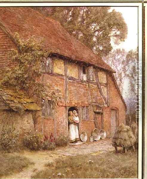The Cottage with Beehives Oil Painting - Helen Mary Elizabeth Allingham