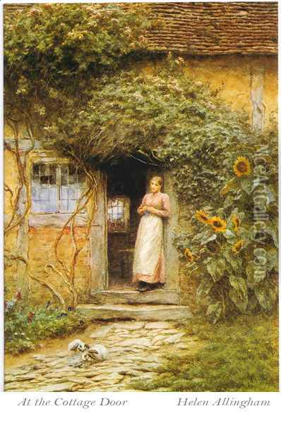 At the Cottage Door Oil Painting - Helen Mary Elizabeth Allingham