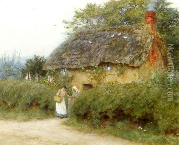 A Cottage With Sunflowers At Peaslake Oil Painting - Helen Mary Elizabeth Allingham