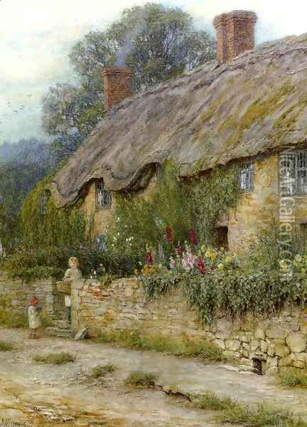 A Mother And Child Entering A Cottage Oil Painting - Helen Mary Elizabeth Allingham