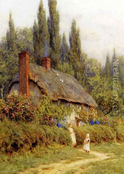 Children On A Path Outside A Thatched Cottage, West Horsley, Surrey Oil Painting - Helen Mary Elizabeth Allingham