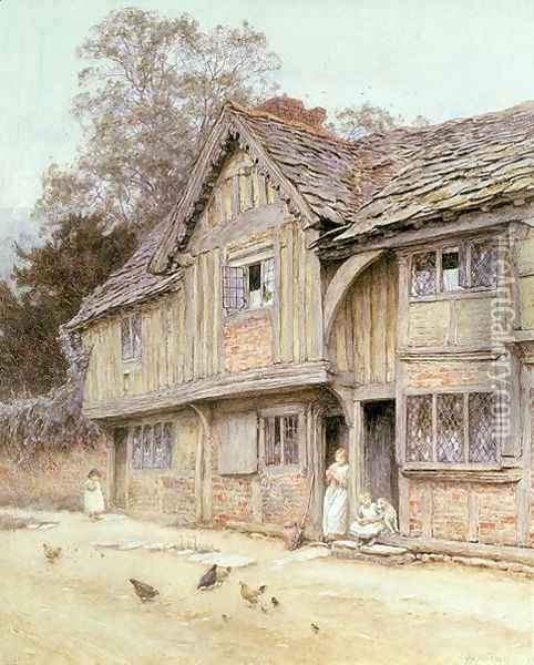Outside a Timbered Cottage Oil Painting - Helen Mary Elizabeth Allingham