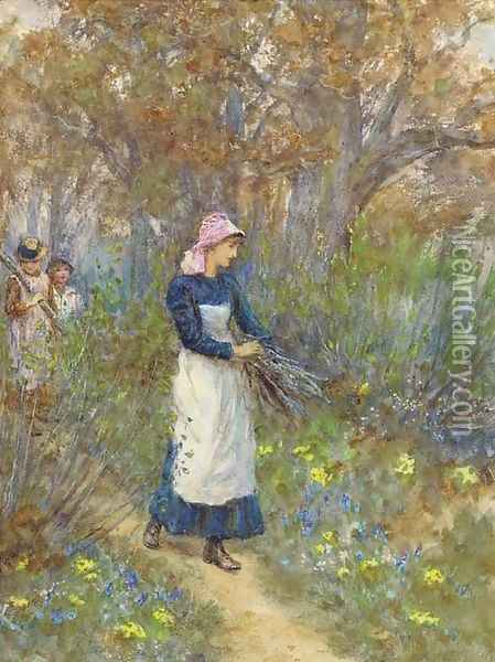 Gathering firewood Oil Painting - Helen Mary Elizabeth Allingham