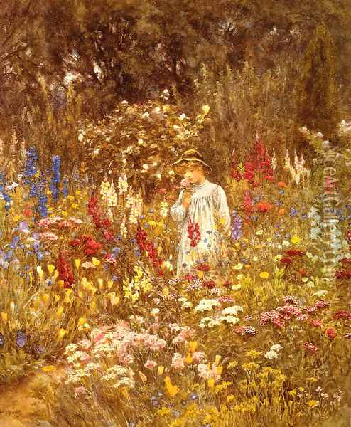 A Cottage Garden Date unknown Oil Painting - Helen Mary Elizabeth Allingham