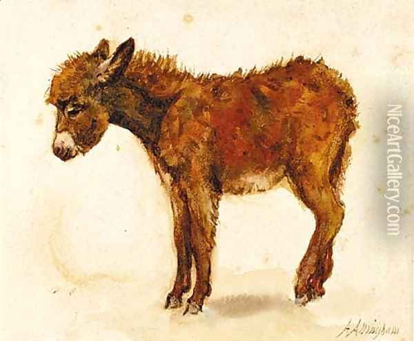 A study of a donkey recto and a study of a cornstook verso Oil Painting - Helen Mary Elizabeth Allingham