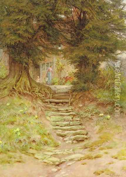 A cottage near Crocken Hill, Kent Oil Painting - Helen Mary Elizabeth Allingham