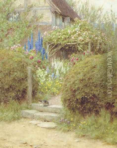 A Cottage Gate, West Horsley, Surrey Oil Painting - Helen Mary Elizabeth Allingham