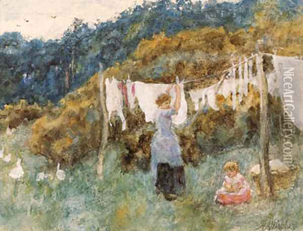 A study for The Clothes Line Oil Painting - Helen Mary Elizabeth Allingham