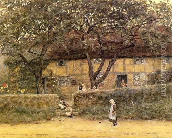 Children Outside a Cottage Date unknown Oil Painting - Helen Mary Elizabeth Allingham
