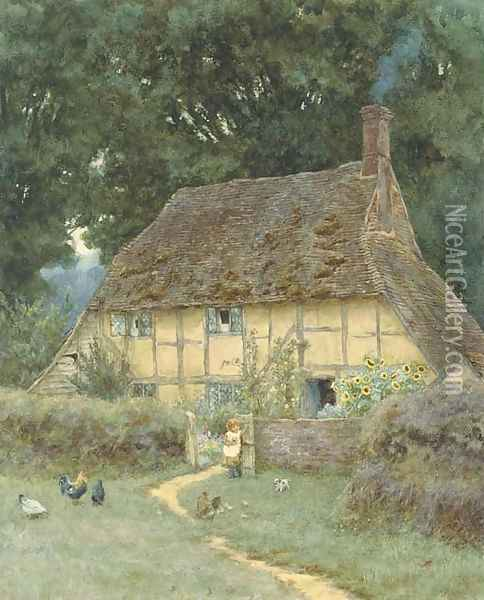 On the Brook Road, near Witley Oil Painting - Helen Mary Elizabeth Allingham