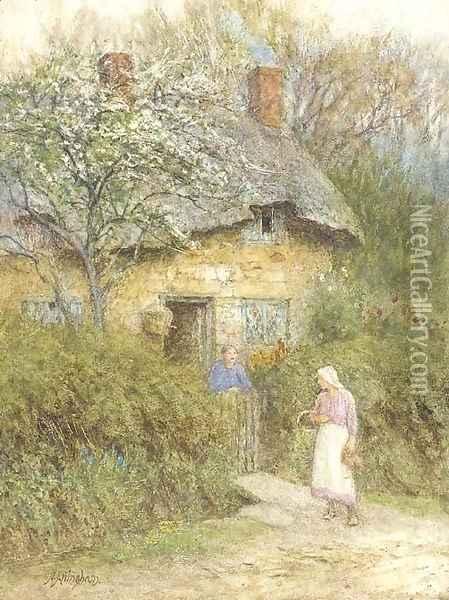 Women at a cottage gate Oil Painting - Helen Mary Elizabeth Allingham