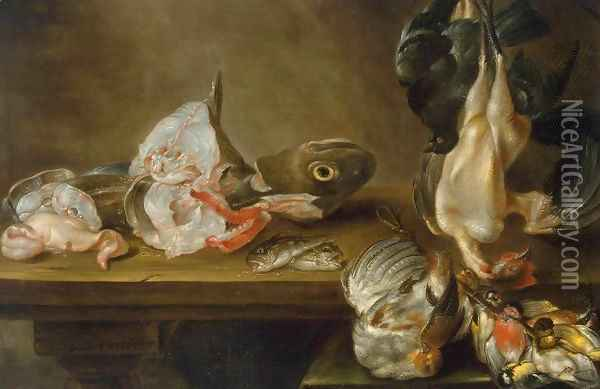 Fish and Dead Game Oil Painting - Alexander Adriaenssen