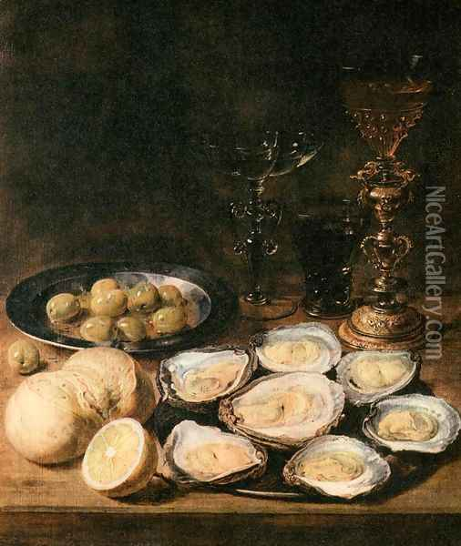 Still-Life with Oysters Oil Painting - Alexander Adriaenssen