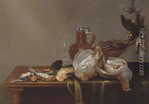 A blue tit, a red finch, a patridge, a kingfisher, and other dead birds on a half draped table, with a glass and silver rimmed jug Oil Painting - Alexander Adriaenssen