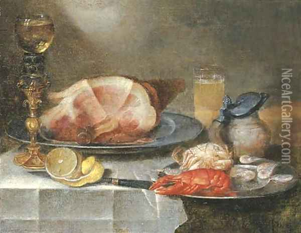 A ham, a lobster, a crab and shrimps on pewter plates with a roemer on a gilt stand, a glass of beer, an earthenware jug Oil Painting - Alexander Adriaenssen