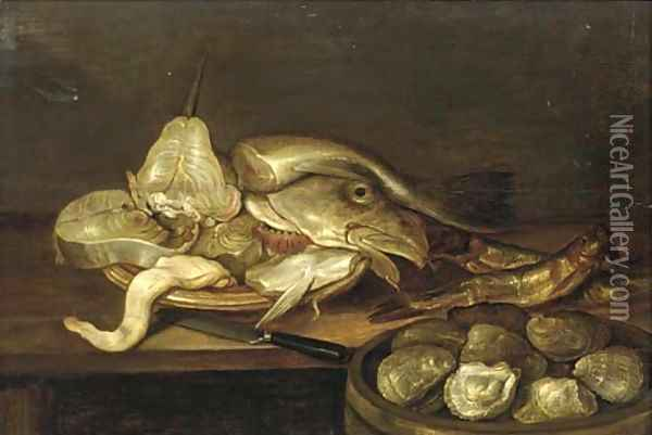 A bowl of clams with a plate of fish and oysters on a table Oil Painting - Alexander Adriaenssen